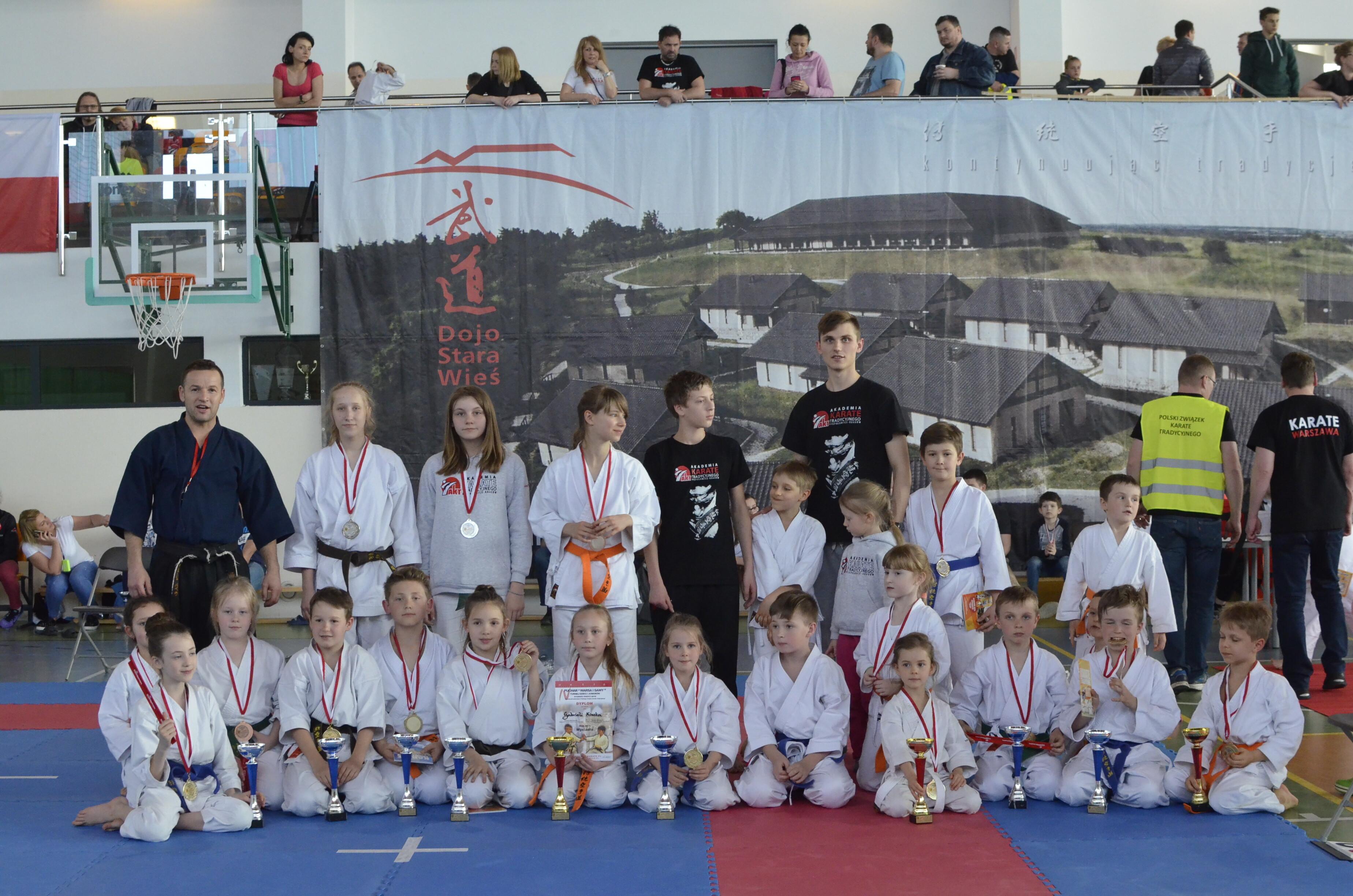 <p>33 medale (15 złotych, 12 srebrnych i 6 brązowych) zdobyli karatecy AKT podczas Pucharu Warsa i Sawy w Mysiadle pod Warszawą. Zawody rozegrano 8 kwietnia.</p>